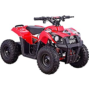 MotoTec 36v 500w ATV Monster v6 Blue Kids Children 36V Mini Quad ATV Dirt Motor Bike Electric Battery Powered, 5 Colors (Red)