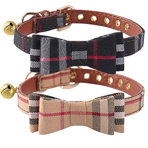 - PUPTECK 2 pcs/Set Adjustable Bowtie Small Dog Collar with Bell Charm XS