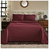Superior 100% Cotton Medallion Bedspread with Shams, All-Season Premium Cotton Matelassé Jacquard Bedding, Quilted-look Floral Medallion Pattern - Queen, Garnet
