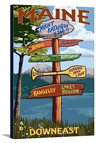 Katahdin Cabin - Mount Katahdin, Maine - Sign Destinations (12x18 Gallery Wrapped Stretched Canvas)