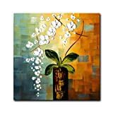 FLY SPRAY 1 Panel 100% Hand Painted Oil Paintings On Canvas Ready To Hang Flowers Floral White Green Beautiful Plants Modern Stretched Framed Wall Art Home Deco Living Room Bedroom Dining Room Office