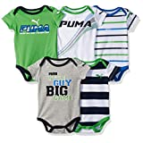 PUMA Baby Boys' 5 Pack Bodysuits, Field Green, 0/3M