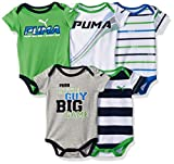 PUMA Baby Boys' 5 Pack Bodysuits, Field Green, 6/9M