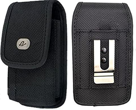 LG Optimus F3 Vertical Heavy Duty Case Holster Pouch Canvas Rugged Nylon Velcro Closure with Steel Metal Belt Clip + Belt Loop [Medium Size will fit to Phones with Slim Cover or Skin (Lg Optimus F3 Metal Case)