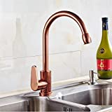 HomJo Kitchen Faucet Space Aluminum Rose Gold Ceramic Single Handle Tap, 2
