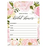 25 Pink Floral Bridal Shower Invitations with Envelopes (Pack of 25) Soon to be Mrs Fill In Boho Wedding, Engagement Excellent Value Invites by Digibuddha VI0047B