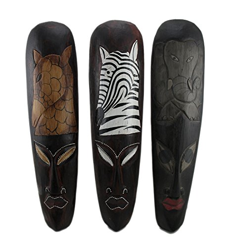 Set Of 3 African Wildlife Wooden Wall Masks (African Elephant Wall Mask)