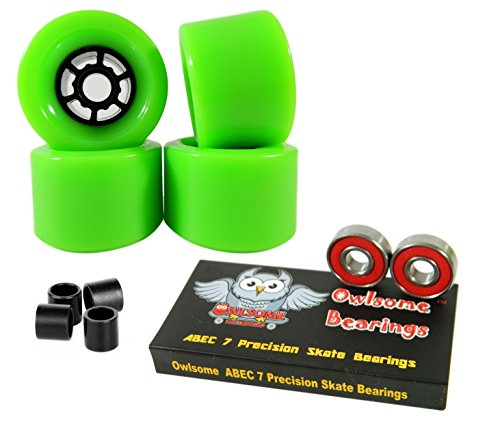 - Owlsome 90mm Wheels Longboard Flywheels ABEC 7 Precision Bearings (Green)