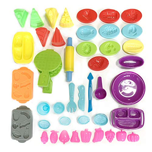 Wartoon Dough Tools, Set of 43 Pcs Smart Clay Dough Tools Cutters Fruit Cake Shapes Kitchen Tools, Assorted Color