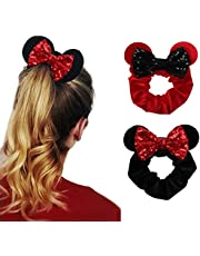 YanJie Women Mouse Ears Sequin Bows Velvet Scrunchies Elastic Rubber Hair Band Cute Hair Ties Rope Ponytail Holder Hair Accessories Sparkle Bow Girl(2pcs/Pack)
