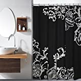 Oversized Shower Curtain Duck River Textiles Isabella Faux Silk Shower Curtain in Black/Silver