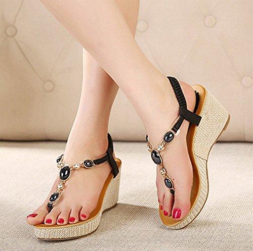 CHFSO Womens Sweet Wedges T Strap Bohemian Flip Flops Sandals Shoes Black ASmcBIbw