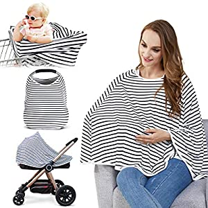 Baby Nursing Cover & Nursing Poncho – Multi Use Cover for Baby Car Seat Canopy, Shopping Cart Cover, Stroller Cover, 360…