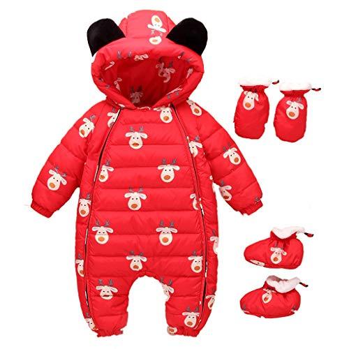 Sunhusing Baby Long-Sleeve Hooded Cartoon Deer Print Bear Ears Hooded Hooded Jumpsuit+Gloves+Socks Three-Piece Suit