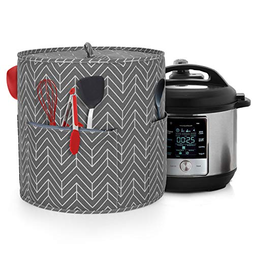 Yarwo Dust Cover for 8 qt Instant Pot, Cotton Canvas Cover with Pockets and Top Handle for 8 Quart Pressure Cooker and Kitchen Tools, Chevron
