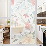 AmazingWall Window Film Sticker Flower Floral Home Office Decal Privacy Frosted Glass Sticker DIY Room Decor 22.8x70.9''