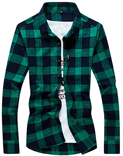 Domple Mens Flannel Plaid Slim Fit Long Sleeve Button Down Shirts Green US M (Patterned Flannel Plaid)