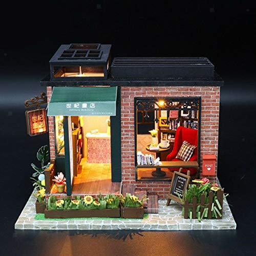 NATFUR 1/24 Scale DIY Handcraft Miniature Project Kit Wooden Dolls House Bookstore