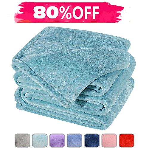 Fleece Bed Blanket Super Soft Warm Fuzzy Velvet Plush Throw Lightweight Cozy Couch Blankets Queen(90-Inch-by-90-Inch)Turquoise (Turquoise Velvet)