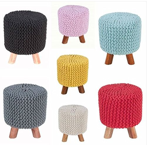 CHOPRAUS Round Handmade Knitted Ottoman/Pouffe/Foot Stool With 3 Wooden Legs, Best for living room, nursery, House warming Gift, 12x20 INCH- RUST