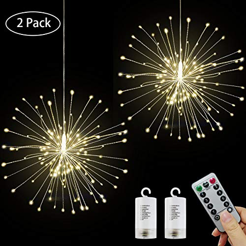 LED String Lights, 2 Pack Firework Twinkle Lights, 8 Modes Waterproof Hanging Bouquet Starburst Lights Battery Operated with Remote Control for Christmas Parties Festival Home Indoor Outdoor Decor