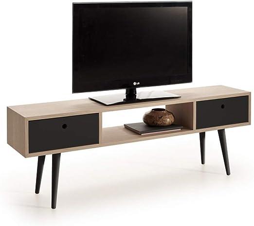 HOGAR24 ES Mueble TV Madera Roble Natural Chapado diseño Vintage ...