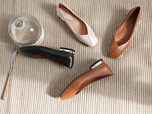 de Abuela Plana Blanca Mujer Boca con Retro Zapatos Suave V ZFNYY Cabeza Zapatos Cuero Tamaño de Gran de de Solos qw55Rfv