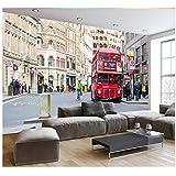 3D Wallpaper Murals Custom 3D Photo Wallpaper Home Decor Wall Painting London Street View Street Red Bus Mural Living Room Sofa Tv Background Wall Silk Cloth 250X180cm,Ayzr