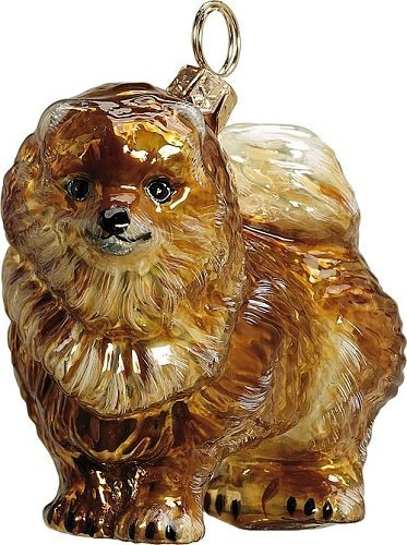 Joy to The World Collectibles European Blown Glass Pet Ornament, Pomeranian