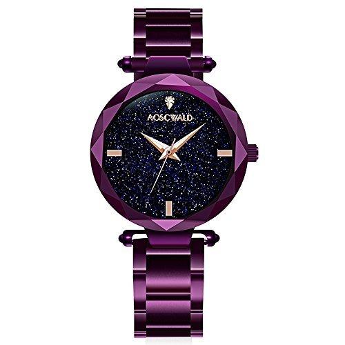 ashion Flickering Quartz Watch Leisure Steel Strip Rhinestone Lady Wrist Watch (Purple) ()