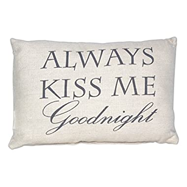 Country House Collection Primitive Cotton 12  x 8  Burlap Throw Pillow (Always Kiss Me Goodnight)