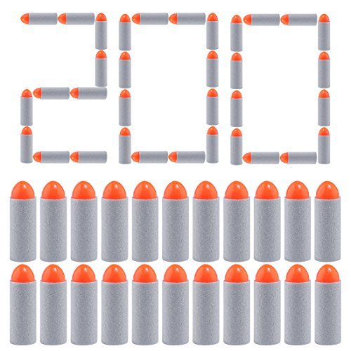 Refill Bullets, Yamix 200Pcs 38mm Customized Oval Solid Head Short Darts Refill Darts for nerf n strike elite -