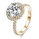 Halo Big Stone Rings for Women AAA Cubic Zirconia Champagne Gold Plated Sparkling