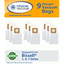 9-Pack Bissell Style 1, 4, & 7 Allergen Vacuum Bags Designed To Fit Bissell Powerforce, PowerGlide, Plus, Lift-Off, Power Trak Series; Compare To Part # 30861 ; Designed & Engineered By Crucial Vacuum