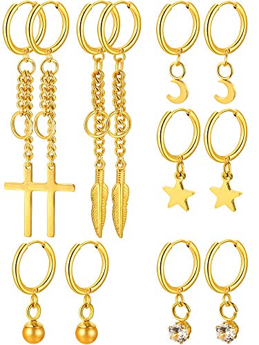 meekoo 6 Pairs Huggie Hoop Earrings Stainless Steel Dangle Hinged Hoop Cuff Earrings Men Women Huggie Jewelry Set, 6 Types (Gold)