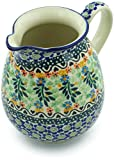 Polish Pottery 3½ cups Pitcher made by Ceramika Artystyczna (Black Heart Garden Theme) Signature UNIKAT + Certificate of Authenticity