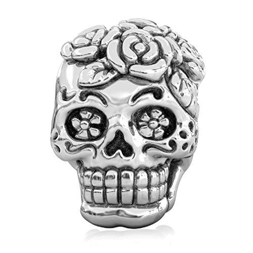 BELLA FASCINI Dia de los Muertos Sugar Skull Bead Charm Sterling Silver Fits European Charm Bracelets