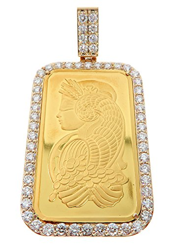 14K Yellow Gold Frame 24K 24 KARAT 999.9 Fine Gold PAMP SUISSE BAR Genuine Real Round Diamonds Charm Luxurious Pendant (4.46 Cttw - SUISSE 1 Ounce) ()