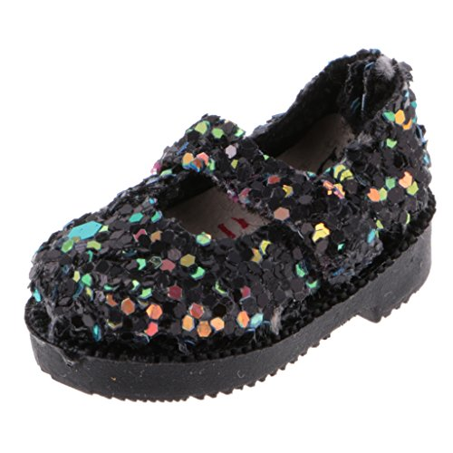 Jili Online 1.30.6'' Doll Shoes for Blythe Licca Jb Doll Mini Shoes for Barbie Doll Russian Doll Accessories 1/6 BJD Black Sequins (Mini Blythe Doll)