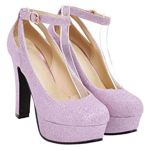 AIYOUMEI Damen Glitzer High Heels Plateau Pumps mit Blockabsatz und Riemchen Abend Schuhe Lila