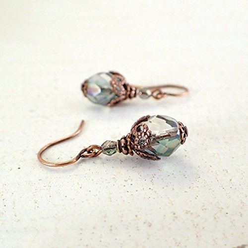 Dusty Seafoam Green Czech Glass Beaded Earrings