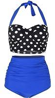 SHENGFAN Womens Vintage Underwire High Waisted Swimsuit Two-Piece Bathing Suits Polka Dot Bikini