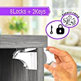 Child Safety Cabinet Locks, Cabinet Locks Child Safety with Stronger Magnetic Invisible No Drilling and No tools Baby Safety Cabinet Locks for Baby Proofing Drawer Cabinets Door 8Locks+2keys (white)