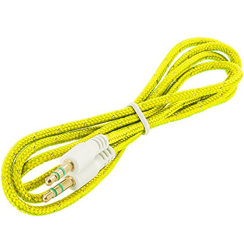 Cell Accessories For Less (TM) Rope Braided Aux Auxiliary Cable Cord 3.5mm - 3FT Yellow for LG Mach LS860 Bundle (Stylus & Micro Cleaning Cloth) - By (Mach 1 Body)
