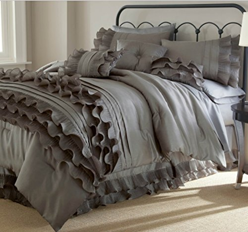 8 Piece Textured Frills Ruffles Design Comforter Set King Size, Featuring Solid Elegant Shabby Chic Printed Pattern Comfortable Bedding, Stylish French Country Girls Bedroom Decor, Grey, Platinum by SE