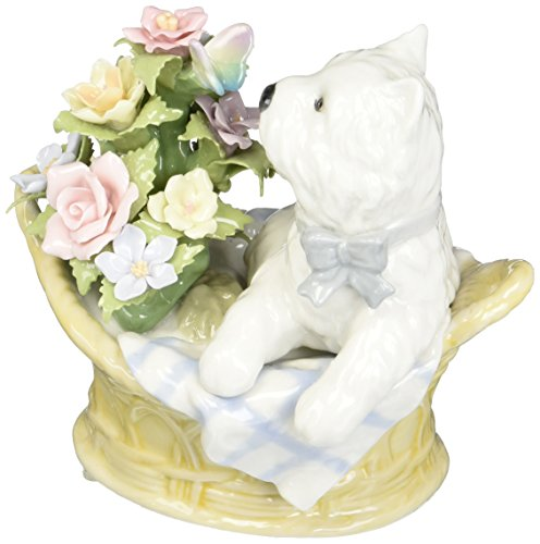 Cosmos SA49105 West Terrier Dog in Flower Basket Musical Figurine, 5-Inch