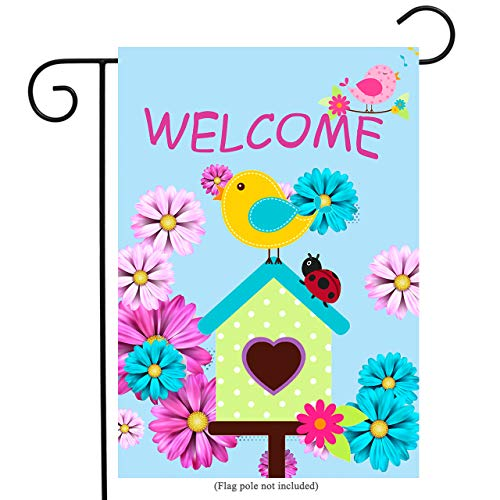Welcome Large Flag - uHome Welcome Garden Flag, Spring Bird, Laddybug and Vivid Flowers Flag, Double-Sided, 100% All-Weather Polyester, Yard Flag to Bright Up Your Garden 12.5