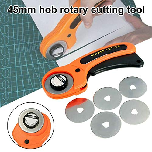 Maikouhai 45mm Rotary Cutter Quilting Premium Sewing Quilting Fabric Cutting Craft Tool Set, Including 1 Rotary Cutter and 5 Blades, for Tailor Cutting Paper Fabric Leather - Plastic + Tungsten - Tractor Tailor