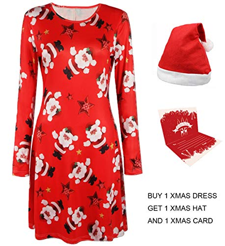 Youthwell Christmas Dress, Women Santa Claus Stars Print Long Sleeve A Line Swing Dress Plus Size Medium (US 8-10)