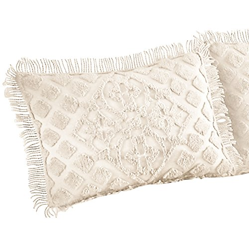 Royalty Elegant Scroll and Checkered Pattern Chenille Pillow Sham with Fringe Border, Ivory, Sham ()